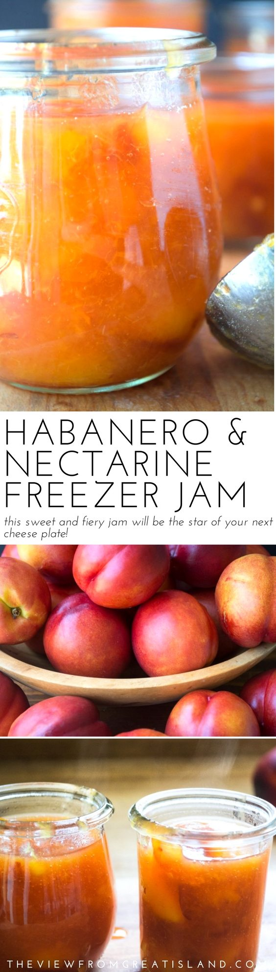 Habanero nectarine jam will liven up your morning toast and be the star of your cheese plate. This fiery but sweet jam is addictive! #freezerjam #nectarines #nectarinejam #habanero #pepper #diyjam #hotpepperjam #preserving #stonefruit #summer
