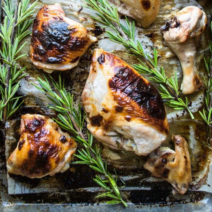 Chicken roasted with buttermilk and honey