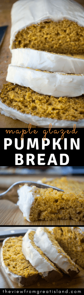This soft Maple Glazed Pumpkin Bread with that layer of super sweet maple icing is a winning combination. Make it on the first crisp morning of fall, and every weekend through the holidays! #pumpkin #cake #pumpkinloaf #holidaycake #maple #pumpkinpoundcake #quickbread #breakfast #loafcake