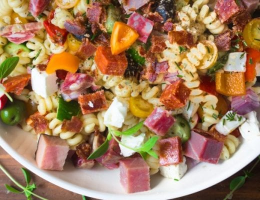 Pasta Salad with salami, ham, and bacon