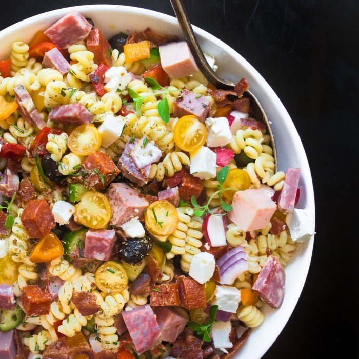 The heartiest of summer meals - Meat Lovers Pasta Salad will satisfy the carnivores in your life!