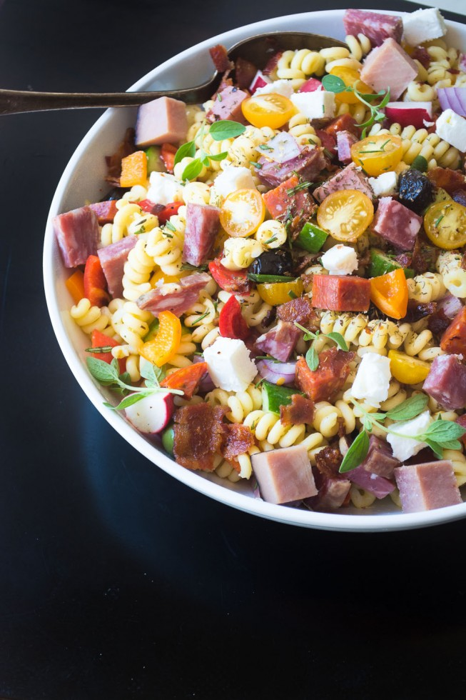 A hearty pasta salad with FOUR different kinds of meat...nobody walks away hungry!