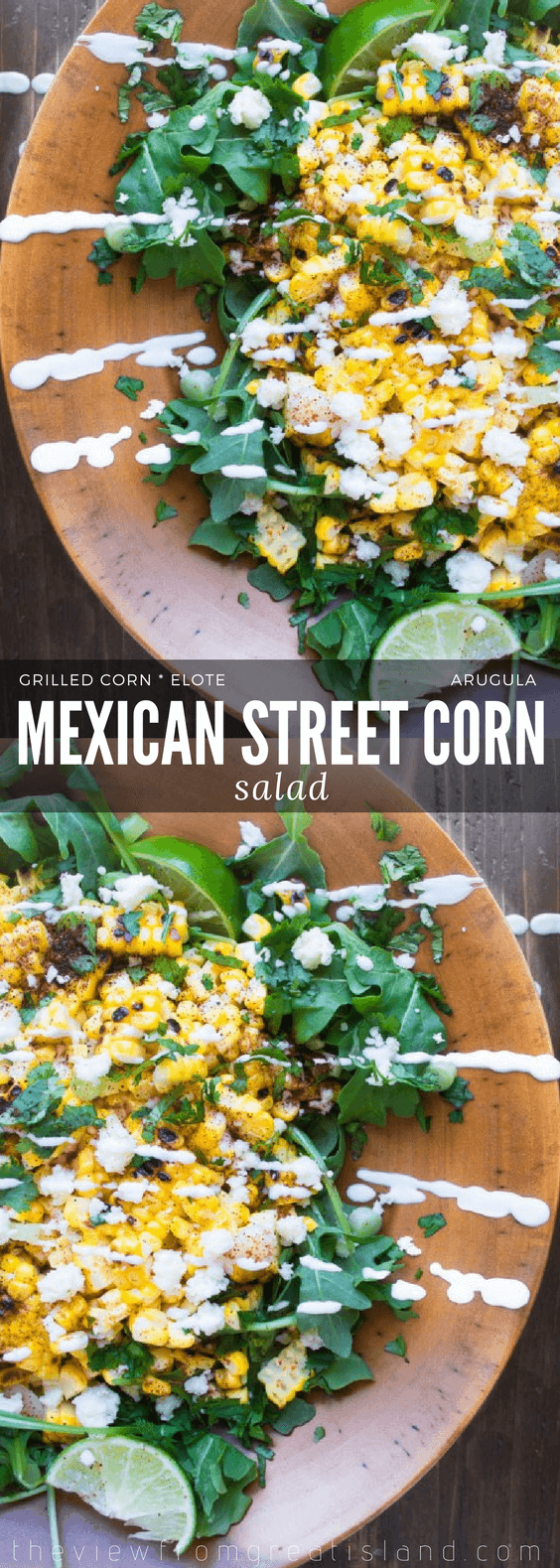 My Mexican Street Corn Salad takes the popular south of the border street food to a whole new level! #elote #mexican #streetcorn #cornonthecob #cornsalad #salad #healthy #sidedish #cincodemayo #memorialday #picnic #potluck #barbecue