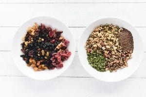 chopped dried fruit and chopped nuts