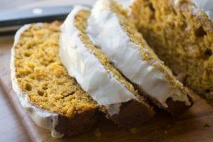 Moist pumpkin bread with a sweet maple glaze