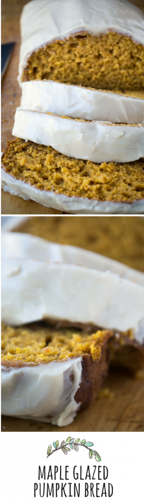 A fluffy pumpkin bread with a sweet maple glaze that can be made with a whisk and one bowl!