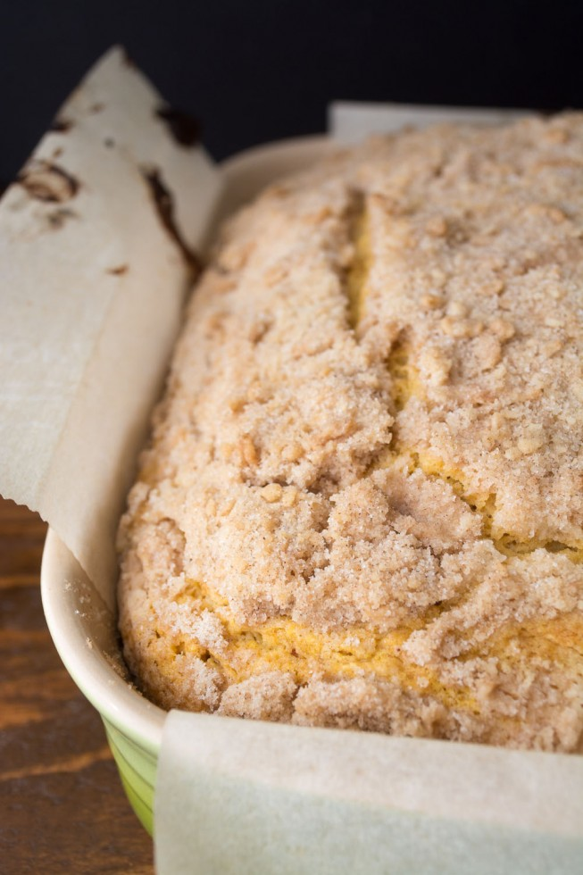 Pumpkin Crumb Cake in a pan.