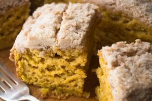 Tall and luxurious golden yellow Pumpkin Crumb Cake