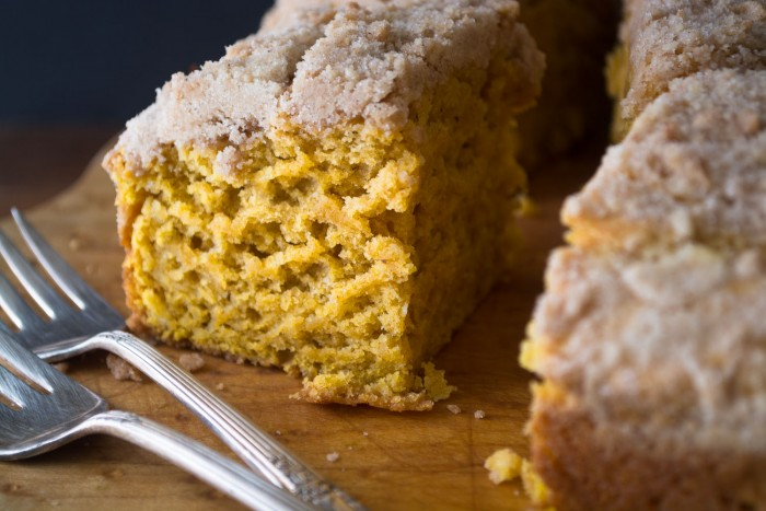 A tall, fluffy, lightly spiced Pumpkin Crumb Cake