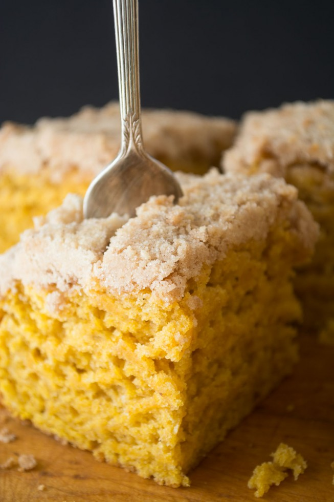A piece of Pumpkin Crumb Cake with a fork.