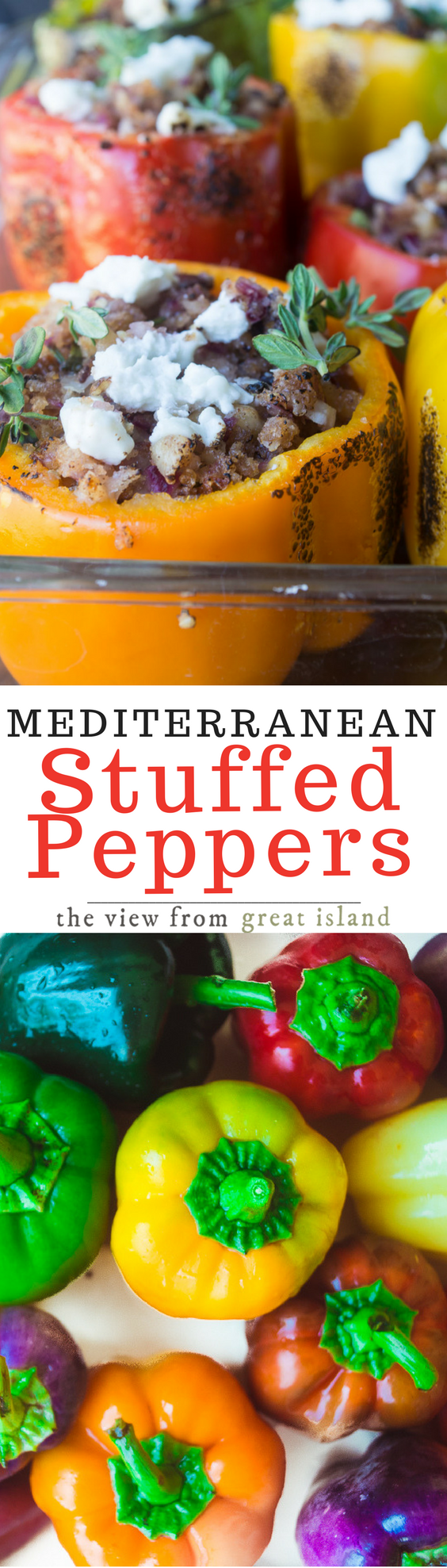 Mediterranean Stuffed Peppers is a vegetarian dish packed with the vibrant flavors of the Mediterranean ~ you won't miss the meat at all in this colorful and healthy meal! #stuffedpeppers #beststuffedpeppers #vegetarian #comfortfood #rainbow #bellpeppers Mediterraneandiet #healthystuffedpeppers #recipe #dinner #meatlessmonday