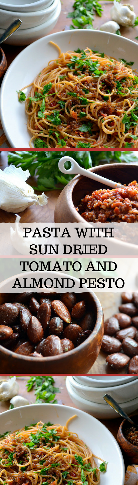 I have a soft spot in my heart for 30 minute meals like this Pasta with Sun Dried Tomato and Almond Pesto that come together without a trip to the store. #pasta #dinner #easydinner #Mediterranean #Italian #30minutemeal #healthypasta #recipe #pesto