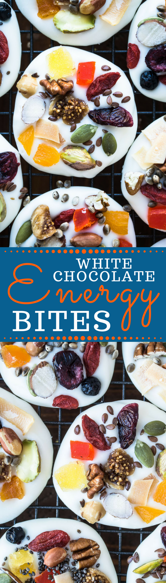 White Chocolate Energy Bites are supercharged little bites of bliss, the creamy white chocolate is topped with colorful and crunchy dried fruits, nuts, and seeds ~ yum! #candy #energybites #healthysnacks #homemadecandy #healthy #healthydessert #glutenfree #superfoods #detox #bark #whitechocolatebark #holidaydessert #foodgift #chocolatemedallions #chiaseeds #driedfruit #driedcranberries #pistachios