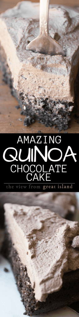 This Quinoa Chocolate Cake is naturally gluten free and one of the moistest, fluffiest, most delicious desserts I've ever had ~ and it's all due to an unlikely ingredient. This super food cake is also super easy, just whip it up in the blender and enjoy!