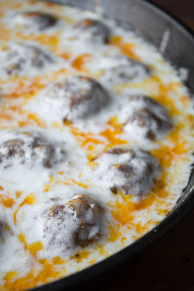 Cheesy Skillet Meatball appetizer