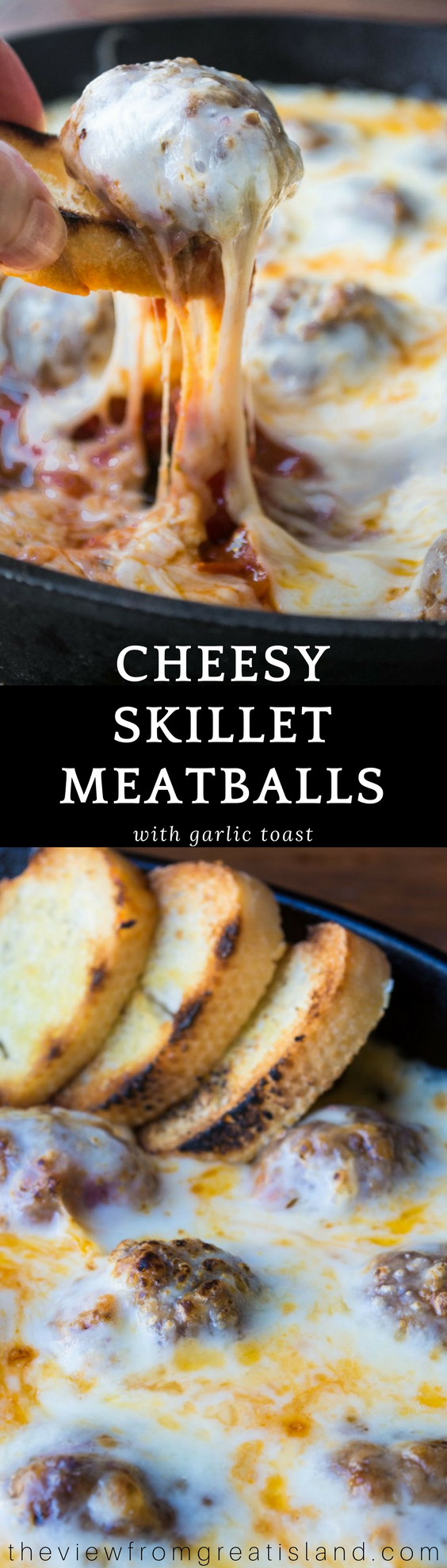 Cheesy Skillet Meatballs with Garlic Toast ~ this easy appetizer or light dinner with tender meatballs baked up in an ooey gooey cheese sauce comes with crisp slices of garlic bread for scooping ~ yum! #meatballs #appetizer #groundbeef #hotappetizer #dip #cheesedip #dinner #comfortfood #bestmeatballs #hotdip #homemade #groundbeef