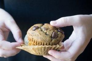 healthy 7 grain pumpkin chocolate chip muffins