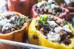 Healthy Vegetarian stuffed bell peppers
