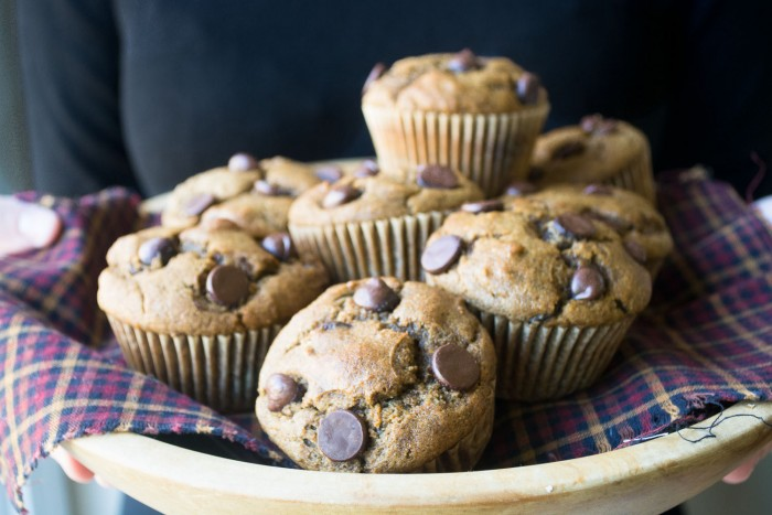 Pumpkin Chocolate Chip Muffins made with healthy whole grains