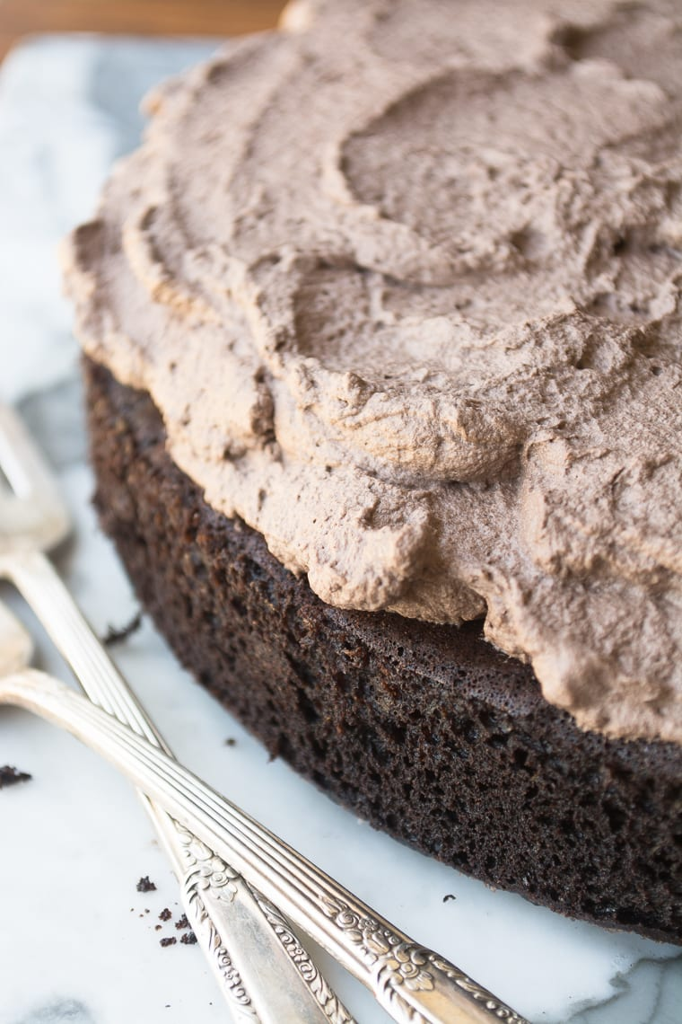 Quinoa Chocolate Cake with fluffy frosting