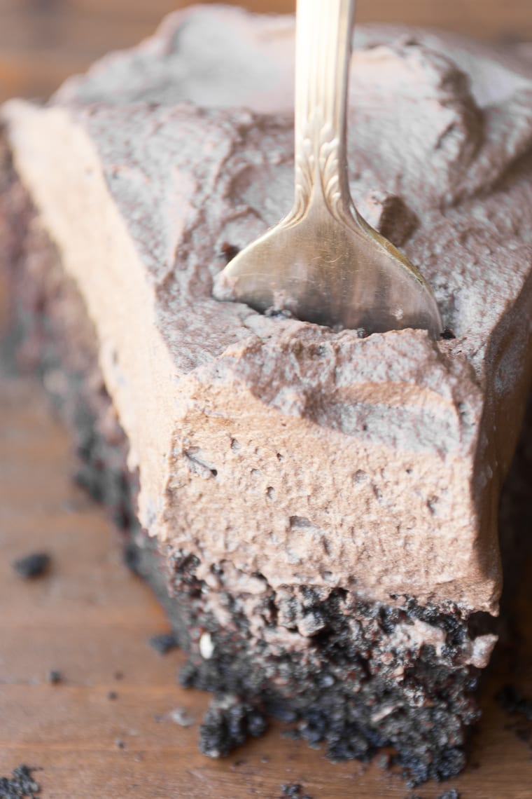 a slice of quinoa chocolate cake with fork