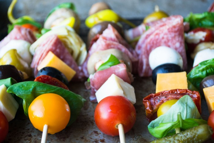Fun and festive Antipasto Skewers --- who needs salad?