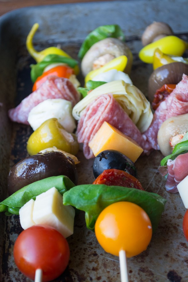 Healthy a vibrant Antipasto Skewers can be an appetizer or a light meal, depending on how large you make them