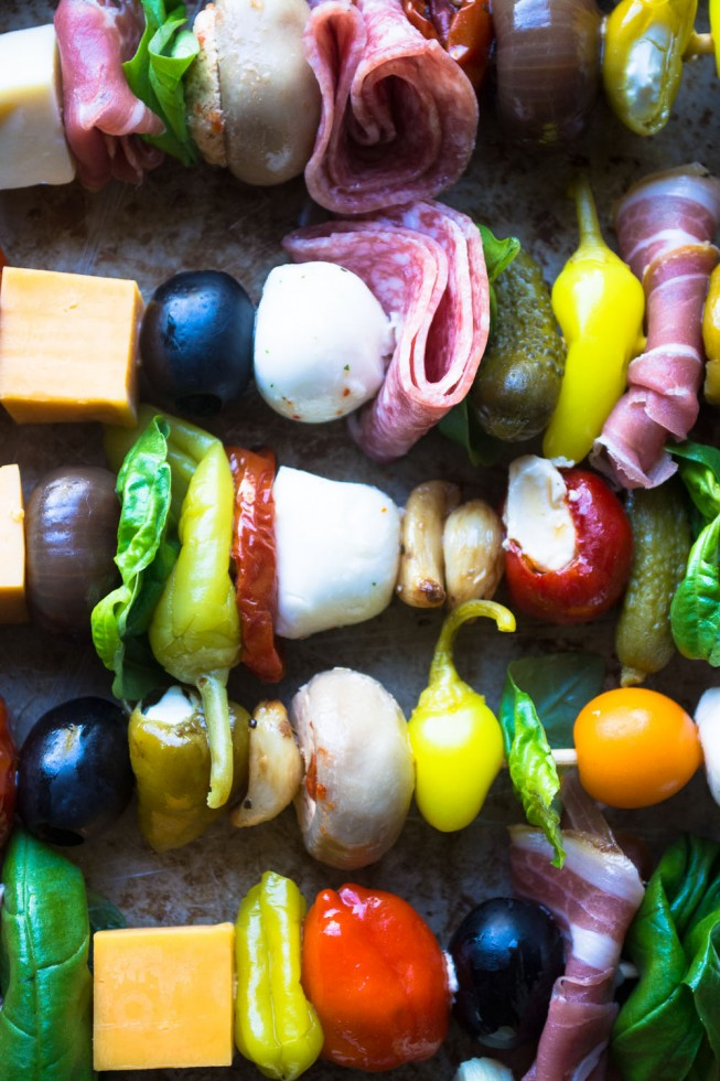 A rainbow of antipasto ingredients threaded on skewers for a quick and healthy appetizer