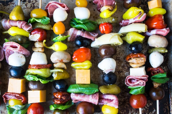 A tray of Antipasto Skewers --- an easy appetizer for a party
