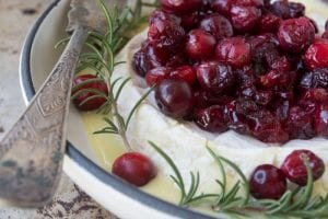 Warm and oozy baked Brie with Roasted Cranberries