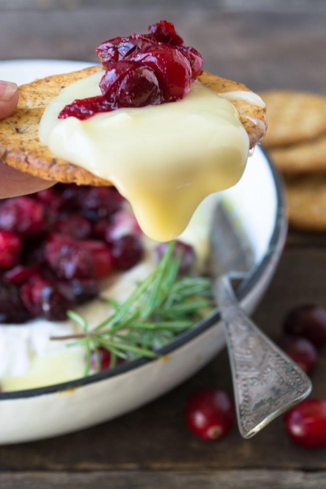 A beautiful Roasted Cranberry Baked Brie holiday appetizer