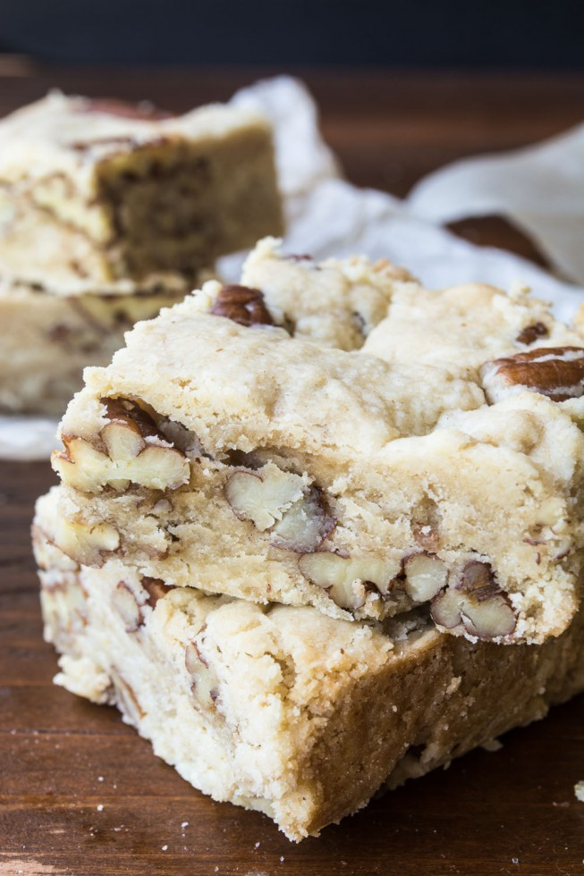 Warm Butter Pecan Shortbread sliced into squares