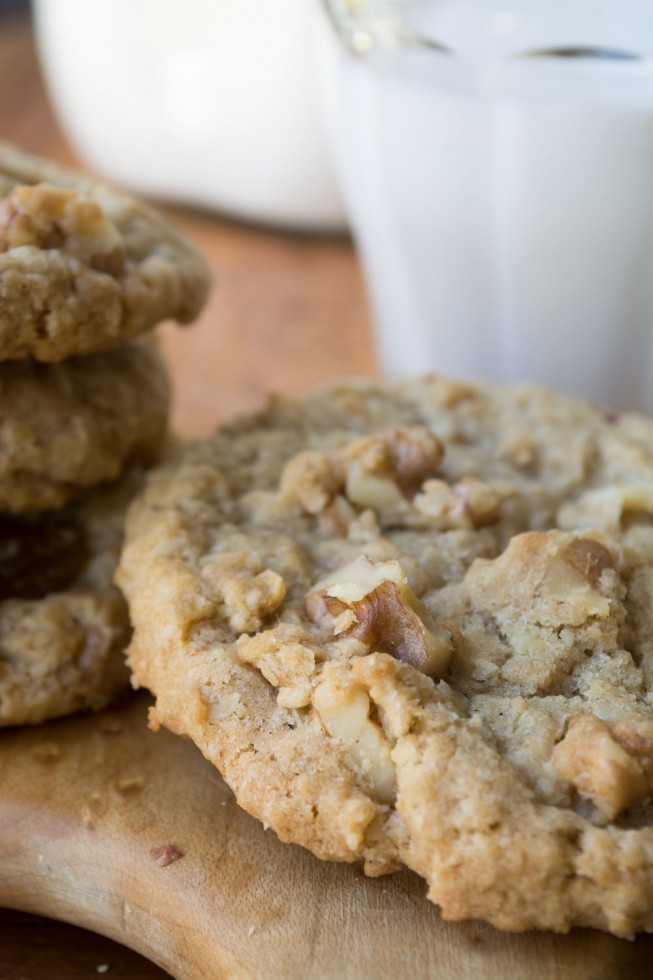 Classic oatmeal raisin cookies with walnuts