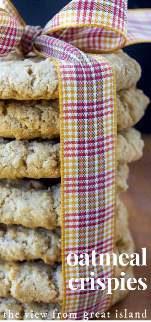 Oatmeal Crispies stacked with a ribbon