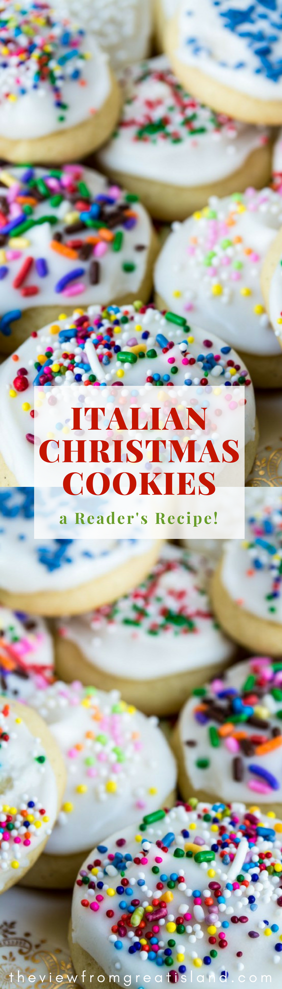 Reader's Recipes: Italian Christmas Cookies ~ these classic holiday cookies have a soft texture, a buttery flavor, and lots of festive frosting on top! #cookies #Christmascookies #holidaycookies #dessert #Italiancookies #frostedcookies #sprinkles #easycookies #vanilla #vanillacookies #dropcookies