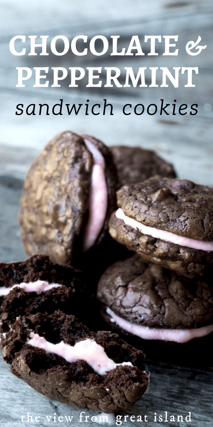 Chocolate Peppermint Sandwich Cookies pin.