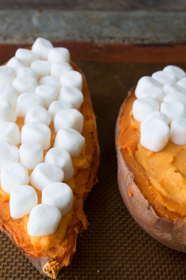 Marshmallow Topped Twice Baked Sweet Potatoes