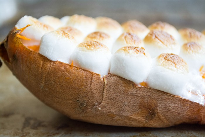 Twice Baked Sweet Potatoes topped with mini marshmallows are a fun side dish for any day of the week