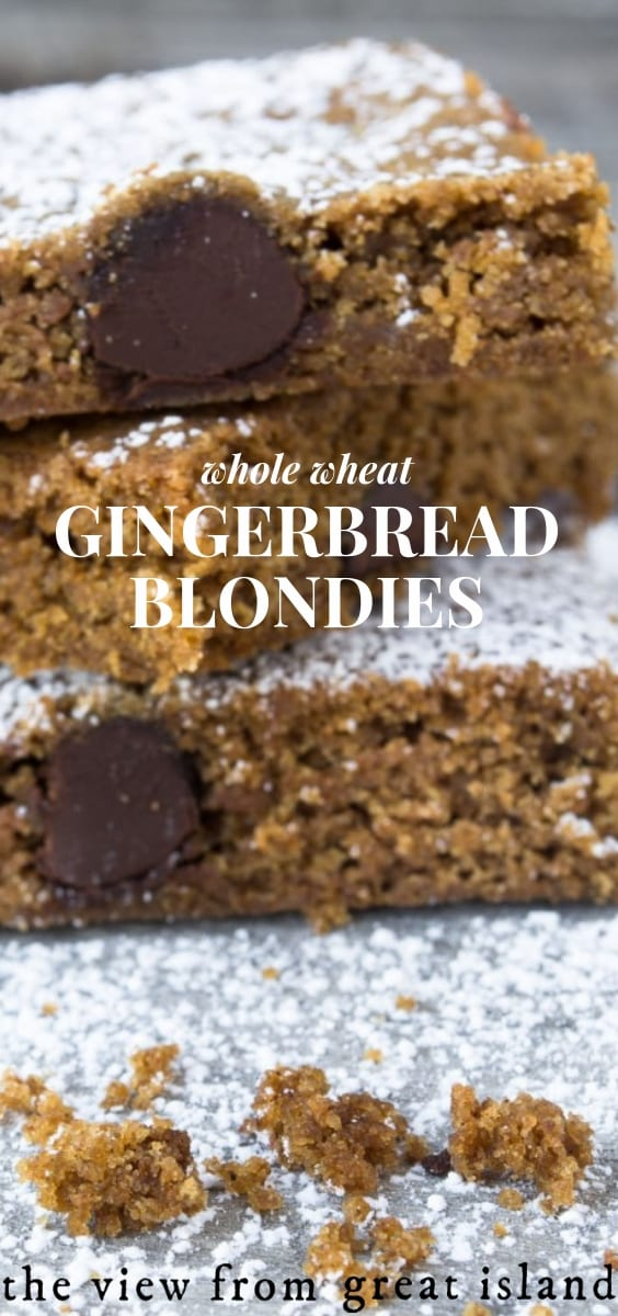 A stack of whole wheat gingerbread blondies