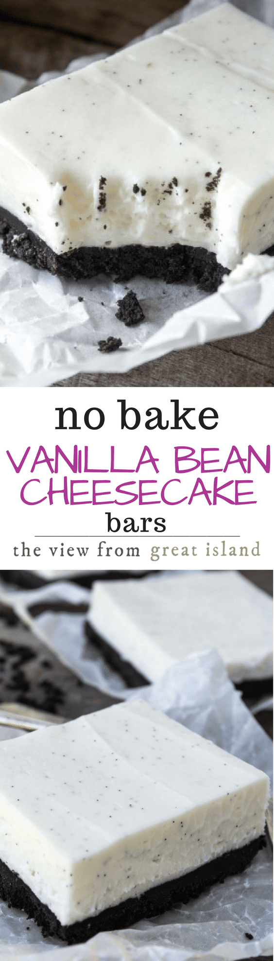 No Bake Vanilla Bean Cheesecake Bars The View From Great