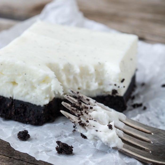 Simple No Bake Vanilla Bean Cheesecake Squares