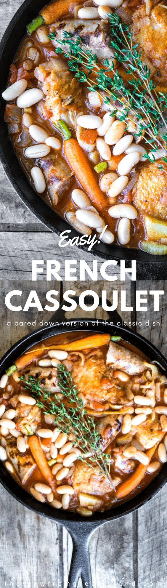 My Easy Cassoulet is a pared down version of the classic French dish and it's perfect for laid back entertaining or a romantic dinner for two! #dinner #french #skilletdinner #onepotdinner #romantic #chicken #beans #sausage #glutenfree