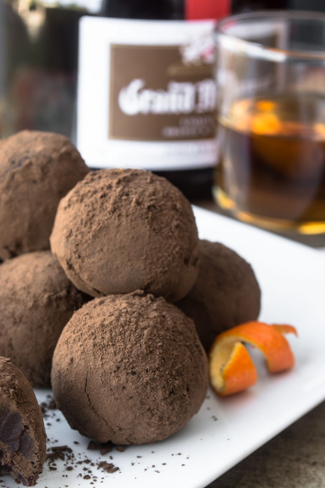 Easy Grand Marnier Truffles on a white plate