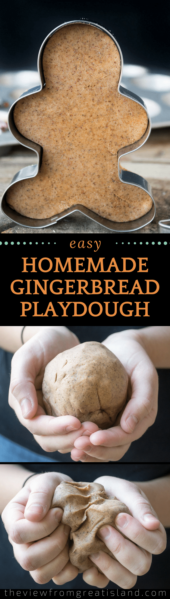 Let your kids 'bake' alongside you with Homemade Gingerbread Playdough — it looks, smells, and feels just like the real thing! #kids #playdoh #playdough #gingerbread #Christmas #kidsinthekitchen #bestplaydoughrecipe
