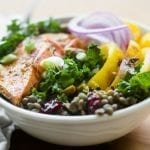 Healthy Salmon Kale and Lentil Bowl