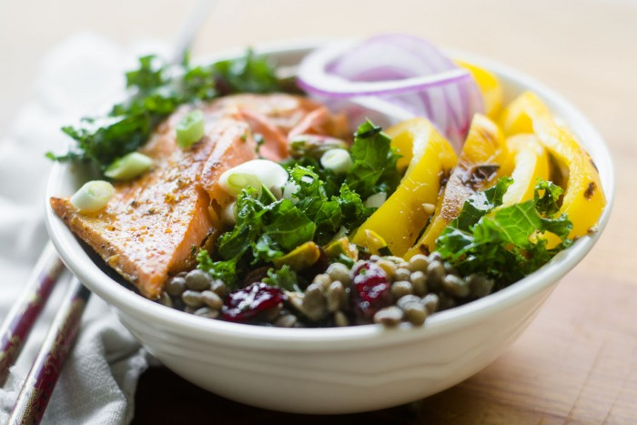 Healthy Salmon Kale and Lentil Bowl