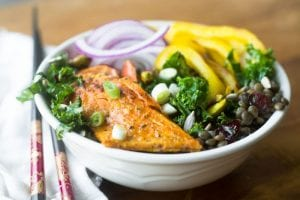 Kale, Lentil and Salmon Salad Bowl
