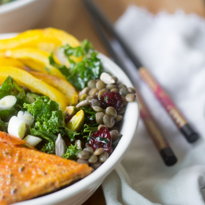 Wild Salmon with Kale and Lentils recipe
