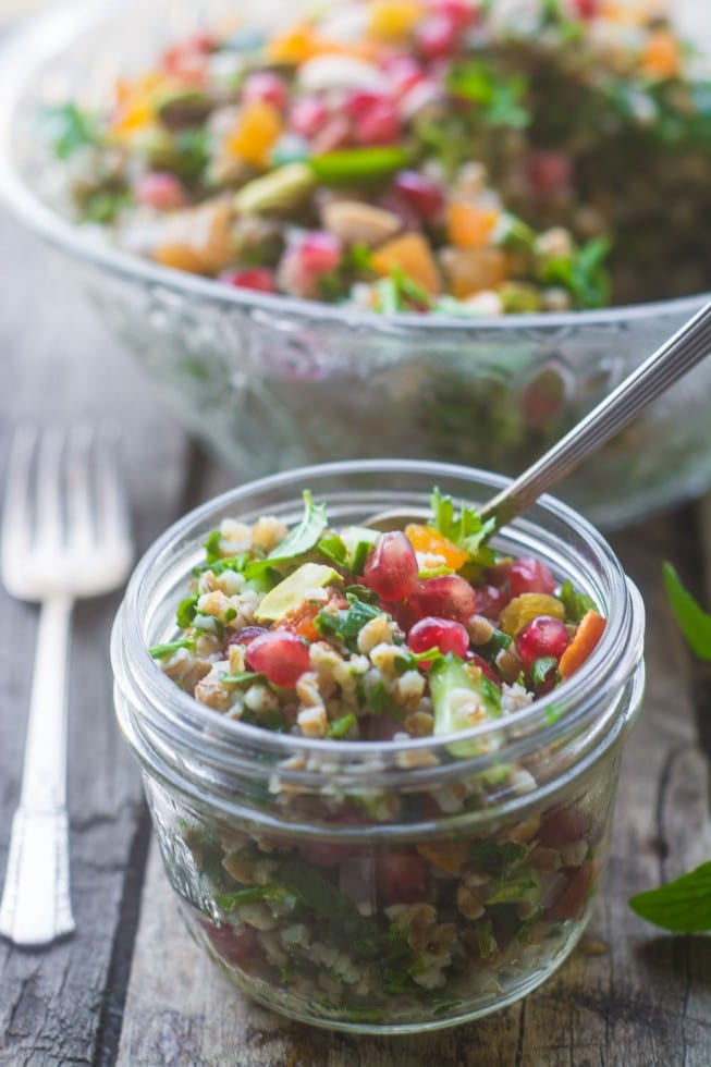 Vegan Jeweled Tabbouleh is a beautiful and healthy salad made with cracked wheat