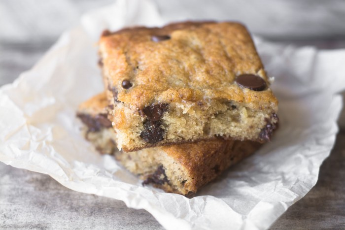 Banana Chocolate Chip Blondies are a not-too-sweet treat